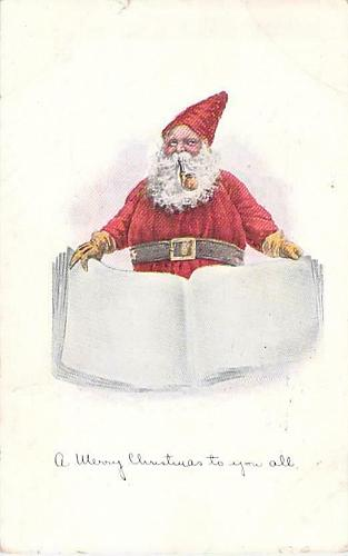 A Merry Christmas to you All, Santa with his Book Vintage Postcard