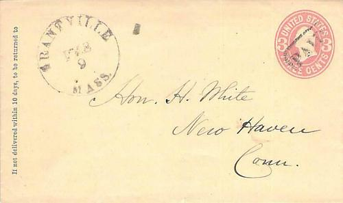 Grantville, Mass Balloon Postmark with PAID Canel Circa 1867 U58 Cover