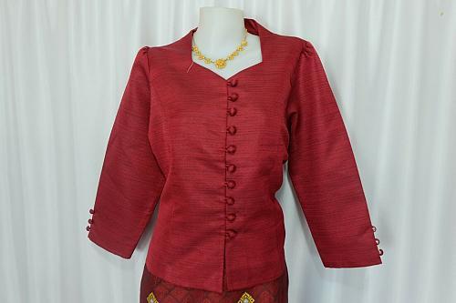 Maroon Lao Laos 3/4 Sleeve Blouse Suea pat siz 14 Synthetic Sinh Skirt Pha Bieng