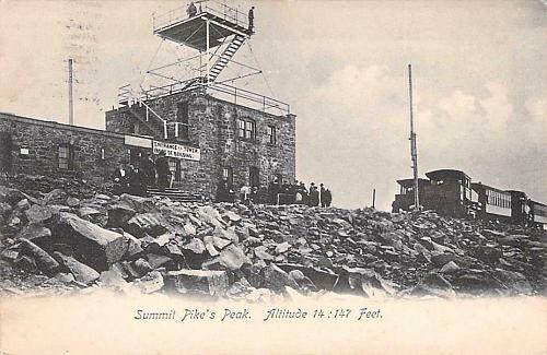 Cog Railway at Summit, Pike's Peak, Altitude 14,147 Ft. Vintage Postcard