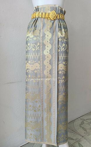 Thai Myanmar Gray Gold Synthetic Silk Fabric For Skirt Wedding dress Longyi