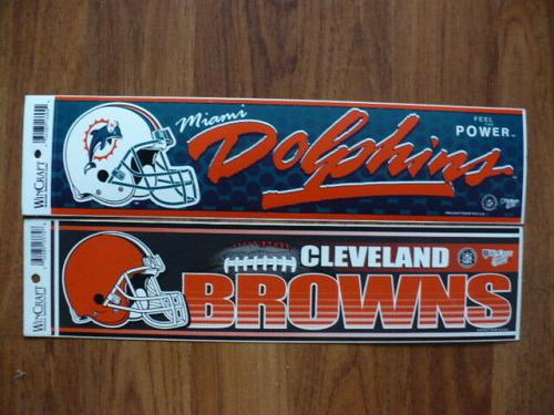 """MIAMI DOLPHINS & CLEVELAND BROWNS 3""""X12"""" WINCRAFT NFL MADE IN U.S.A. STICKERS"""