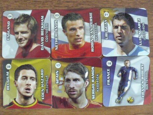 WORLD CUP SOCCER STARS COLLECTIBLE FRIDGE MAGNET SIZE; 4.5 X 4.5 CM