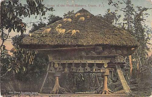 Home of th eHead Hunters, Luzon, Philippine Islands Vintage Postcard