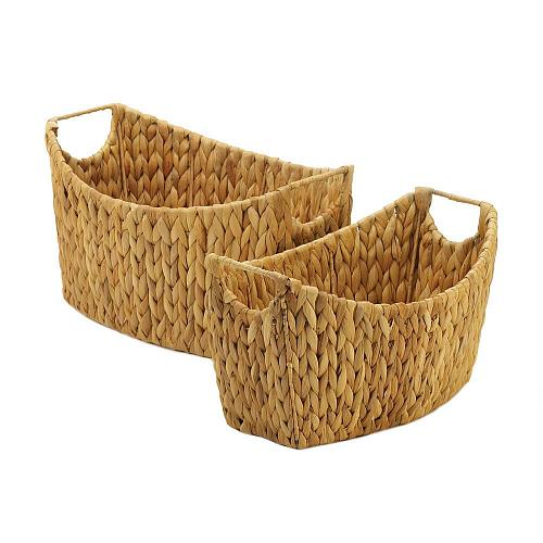 *18728U - Natural Beige Water Hyacinth Oblong Baskets Handled 2pc Set