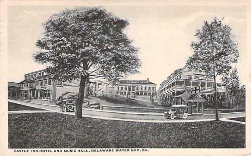 Castle Inn Hotel and Music Hall, Deleware Gap, PA Autos Vintage Postcard
