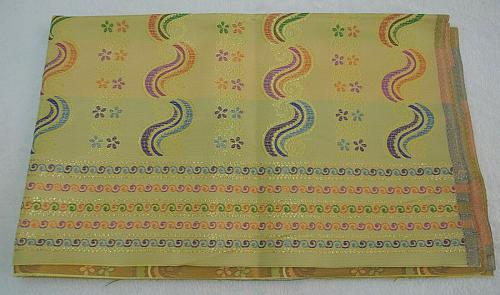 Thai Myanmar Yellow Synthetic Silk Fabric For Skirt Wedding dress Longyi