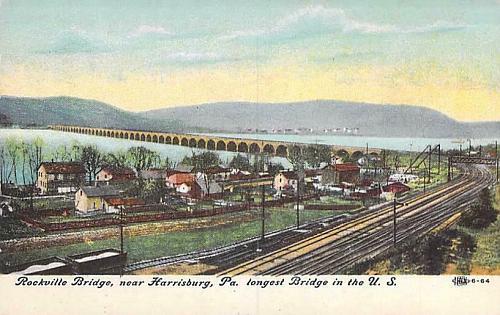 Rockville Bridge, Harrisburg, PA Railroad Bridge Vintage Postcard