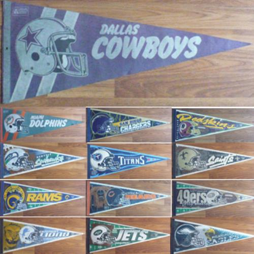 VINTAGE NFL PENNANT COWBOYS,DOLPHINS,REDSKINS,49ERS,BEARS,RAMS,JETS,LIONS,EAGLE