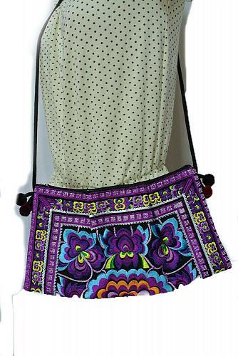 Thai Hmong Tribal Embroidered Hill Tribe Purse Crossbody Bag Boho Hippie Handbag