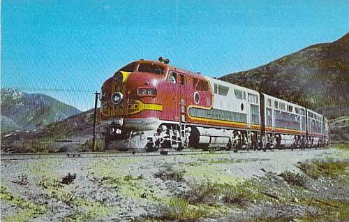 Santa Fe Streamliner in Cajon Pass Calif., Fred Harvey Color Postcard