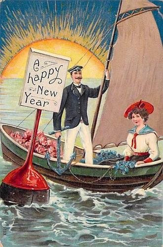 A Happy New Year, Romance, Sailboat Couple Embossed Vintage Postcard