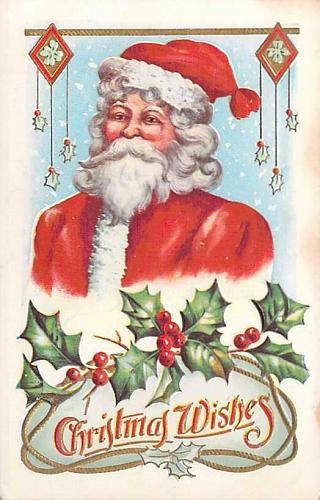 Santa Claus Smiling in Portrait with Christmas Wishes Embossed Vintage Postcard
