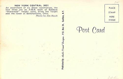 New York Central Railroad, 3821 Baldwin Sharknose Freight Unit Vintage Postcard