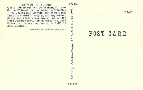 City of Portland Union Pacific Domeliner Columbia River Railroad Postcard