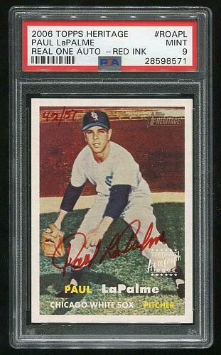 2006 TOPPS HERITAGE REAL ONE RED AUTO PAUL LaPALME PSA 9 MINT (28598571)