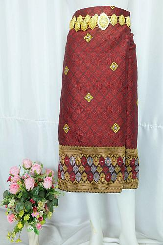 Maroon Brown Lao Laos Silk Sinh Skirt Clothing Traditional Costume Size XL