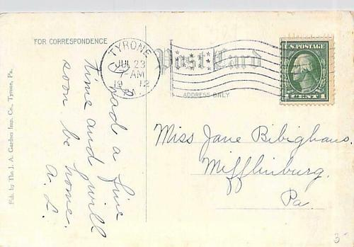 Deep Fill Curve on The Tyrone & Clearfield Railroad Penna. Vintage Postcard