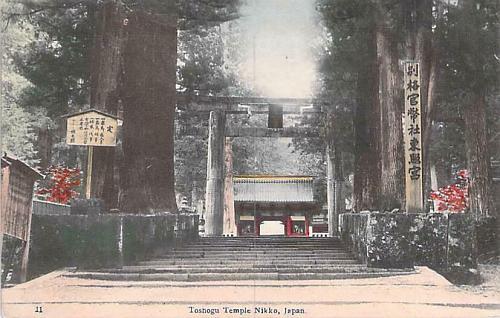 Toshogu Temple Nikko, Japan Hand Tinted Color Vintage Japanese Postcard