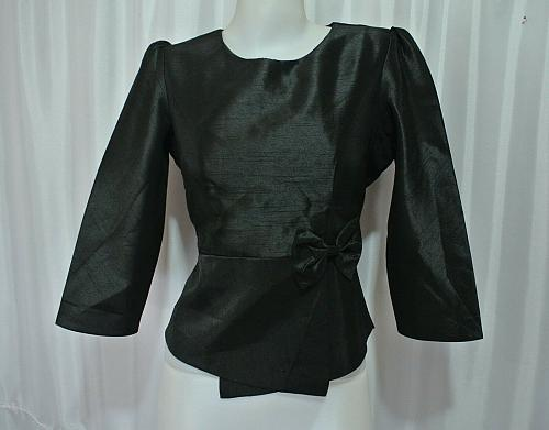 Black Lao Laos synthetic silk 3/4 SLeeve Blouse Classic Neckline size 14 L B42Z