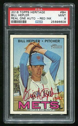 2016 TOPPS HERITAGE REAL ONE RED AUTO BILL HEPLER PSA 9 MINT (25696609)