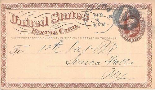 1874 UX3 New York Negative 4 Fancy Cancel US Postal Card