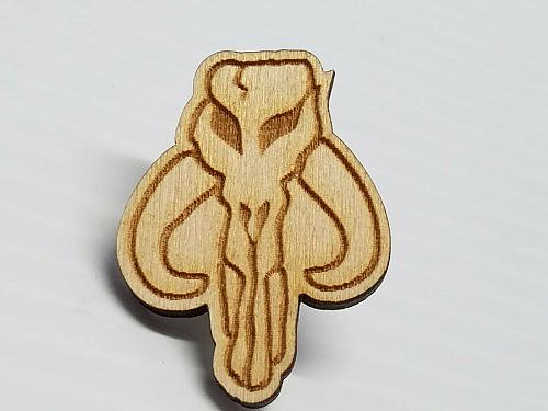 Laser Engraved Mandalorian (Boba Fett Faction) Wood Hat Pin