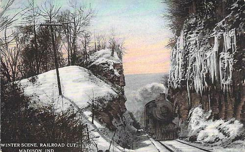 Winter Scene, Railroad Cut w/ Steam Engine, Madison, Indiana Vintage Postcard