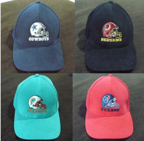 NFL FOOTBALL HATS COWBOYS, REDSKINS, DOLPHINS, TEXANS (NEW PRE-OWNED) ADJUSTABLE