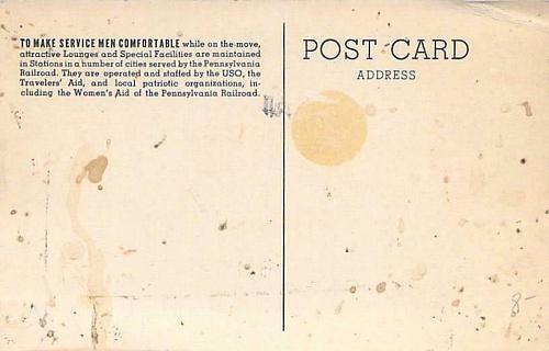 WW II Pennsylvania Railroad USO Lounges Vintage Unused Postcard