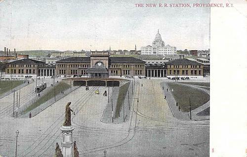The New Railroad Station, Providence, RI Vintage Postcard