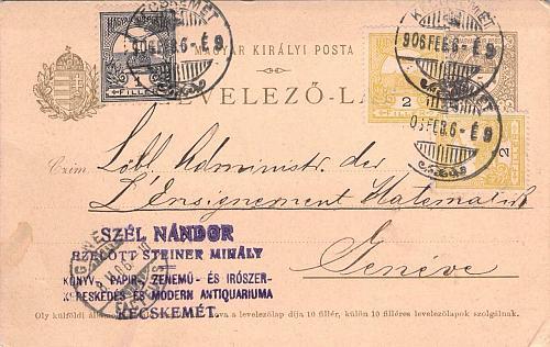 Hungary 1906 Postal Card Stationery to Geneva Switzerland franked 1, 2x2 Filler