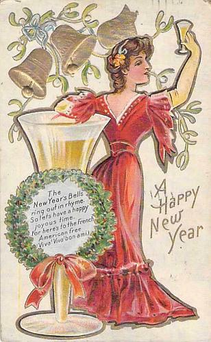 A Happy New Year Young Lady Toasting with Champagne Embossed Vintage Postcard