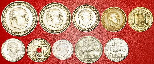 § GENERALISSIMO FRANCO: SPAIN ★ SET 10 COINS (1936-1975)! LOW START★NO RESERVE!