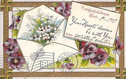 Baby Birth Congratulations, Swatikas in Corner Embossed Vintage Postcard