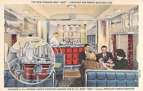 New Streamliner 400,Chicago & North Western Line Tap Room, Lounge Car Postcard
