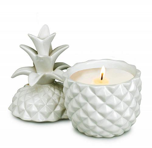 :10876U - White Ceramic Pineapple Shape Lidded Scented Candle Cup