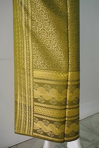 Myanmar Green-Yellow Synthetic Silk Fabric For Skirt Wedding dress Longyi Sarong