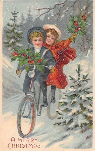 A Merry Christmas Children Riding Bicycle Embossed Vintage Postcard