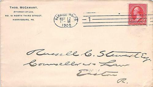 1900 Barry Cancel Harrisburg PA to Easton PA & Rare Hampden Machine Received BS
