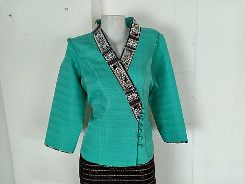 Mint Lao Laos 3/4 Sleeve Blouse size 16 Cotton Sinh Skirt XL For Laos New Year