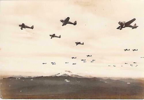 Japanese Fighter Aircraft Flying in Formation Real Photo Vintage Postcard