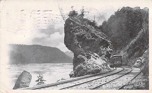Through the Gorge by Trolley, Niagara Falls, NY Railroad Postcard