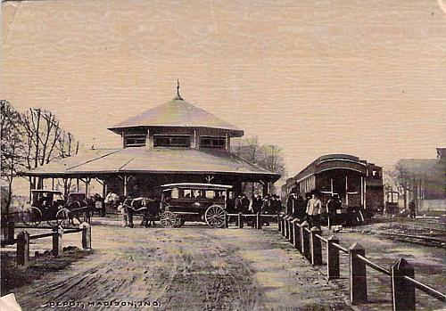 Railroad Depot, with Train and Wagons,Madison, Indiana Vintage Postcard
