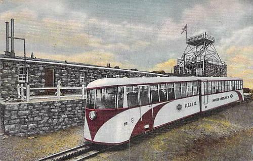 Streamline COG Train at Pikes Peak Summit, 14,110 Ft Elevation Vintage Postcard