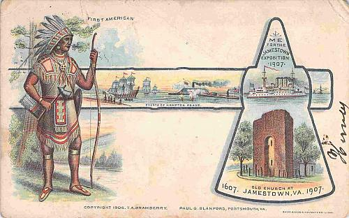 Jamestown Exposition First American, Old Church Vintage Postcard