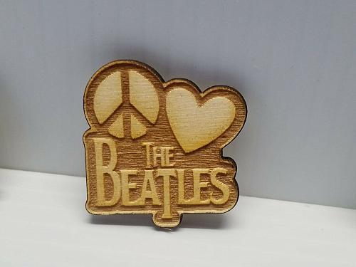 Laser Engraved Beatles Wood Hat Pin