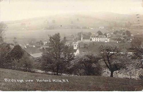 Bird's Eye View Hartford Mills N.Y. Real Photo RPPC Vintage Postcard