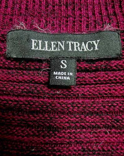 ELLEN TRACY womens Small L/S purple black TEXTURED hi low stretch sweater (C4)