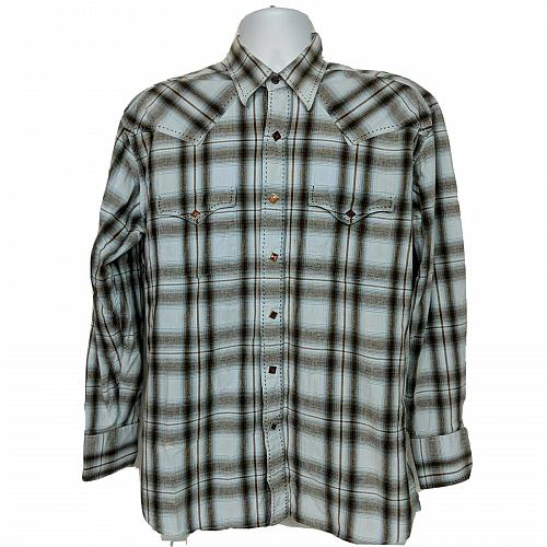 Brooks & Dunn Panhandle Slim Western Pearl Snap Shirt Large Brown White Plaid